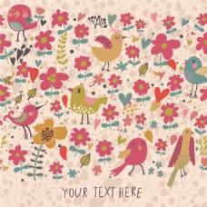 彩色手绘小鸟花朵无缝背景图