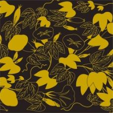 黄色填充树叶背景图