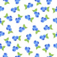 小清新蓝莓水果无缝拼接图案矢量背景