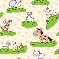 草原动物可爱动物图案矢量素材