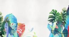 手绘彩色树叶背景