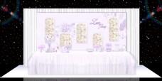 紫色梦幻浪漫婚礼展区婚礼效果图甜品区