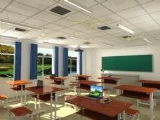 白天学校教室效果图