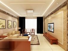 新中式简洁客厅效果图