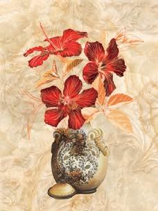欧式花瓶大理石纹移门玄关装饰画背景墙