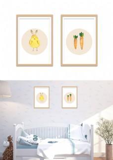 简约小清新手绘小鸡萝卜插画装饰画