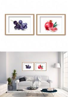现代水彩水果色彩装饰画