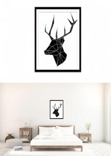 现代黑白几何麋鹿装饰画