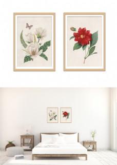 现代淡雅手绘花装饰画