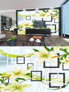 绿色花朵框背景墙