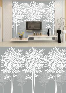 现代简约灰白发财树电视背景墙