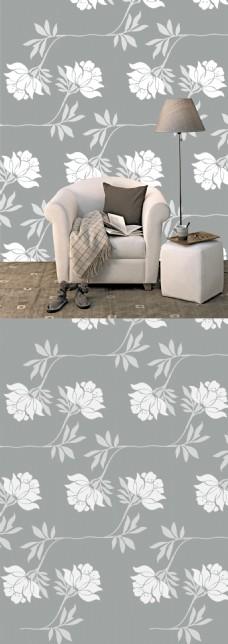 现代简约灰白大气沙发背景墙