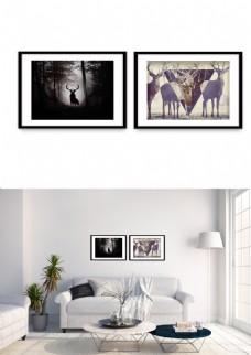 现代麋鹿黑白简约风景装饰画