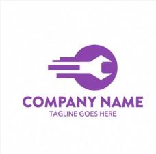 紫色修理工具抽象钥匙logo