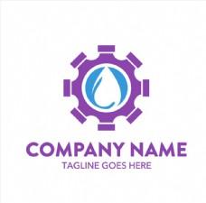 紫色齿轮水滴抽象logo