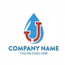 蓝色水滴中的红色水管logo