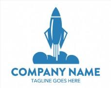 蓝色发射的火箭创意logo