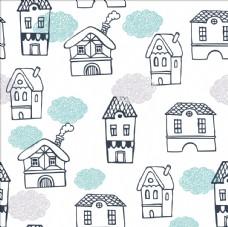 卡通房子烟囱四方连续底纹