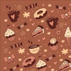 蛋糕冰激凌四方连续底纹