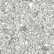 卡通房子建筑四方连续底纹