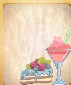 奶油蛋糕三明治玻璃杯矢量图下载