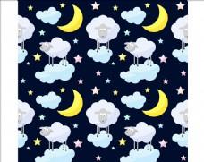 月亮白云小绵羊四方连续底纹