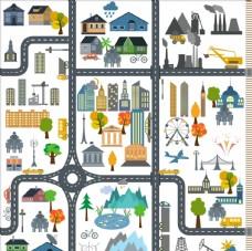 卡通城市场景矢量图下载