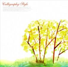水彩樹木psd風景素材