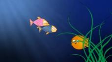 卡通动物海底视频素材