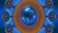 圆形造型蓝色视频背景