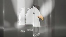 透过玻璃折射显示Logo文字