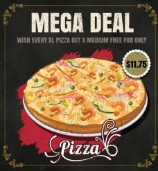 矢量手绘西餐披萨促销海报EPS素材