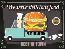 卡通时尚西餐美食餐馆宣传EPS素材
