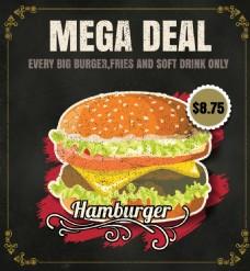 黑底矢量手绘西餐汉堡促销海报EPS素材