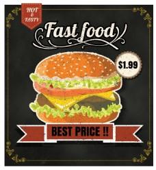 矢量手绘西餐汉堡促销海报EPS素材