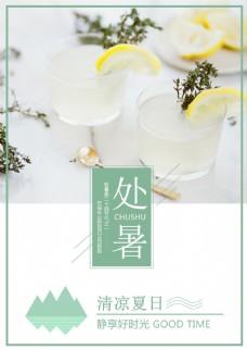 处暑二十四节气柠檬清新文艺海报设计