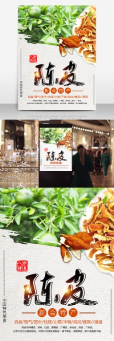 中国特色美食新会特产陈皮促销美食海报