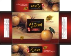 韩国梨箱子包装设计