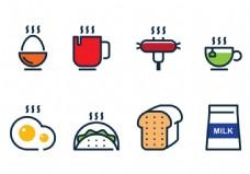 矢量早餐食品线性