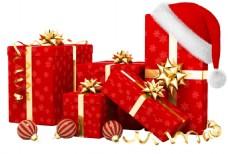 红色圣诞帽礼盒元素
