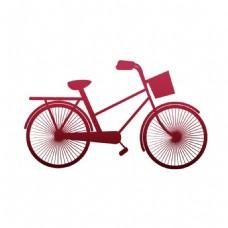 卡通粉色自行车png免扣元素