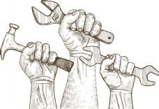 手绘手握扳手png免扣元素