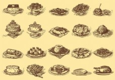 美食素描矢量素材