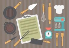平面设计厨房设备背景矢量