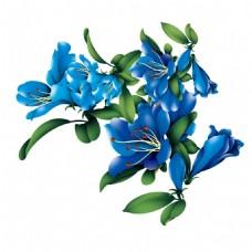 蓝色牡丹花png免扣元素