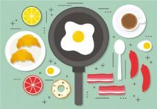 煎鸡蛋早餐矢量图