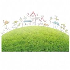 绿地上的建筑png免扣元素