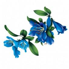 蓝色手绘花朵png免扣元素