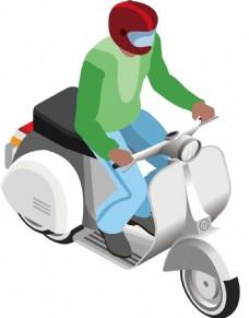 卡通摩托车骑士png免扣元素