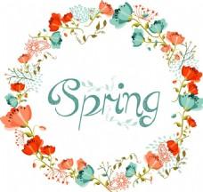 手绘春天花环元素